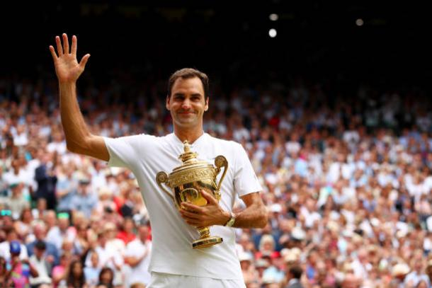 Federer with his eighth Wimbledon title (Getty/Clive Brunskill)