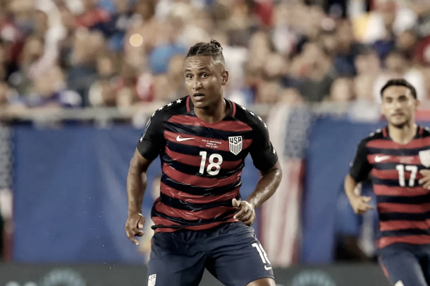 Juan Agudelo playing for the U.S. Men's National Team | Source: Mike Carlson - Getty Images