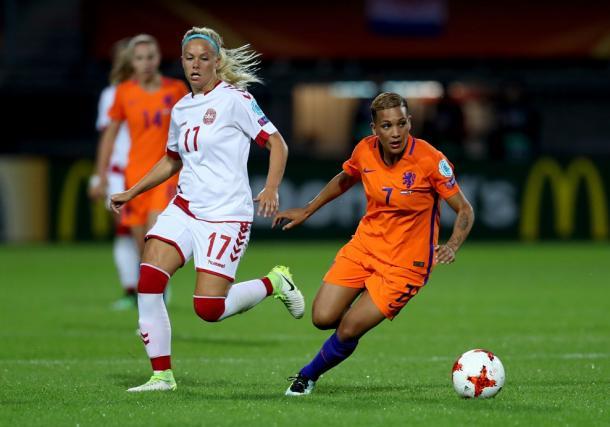 Line Sigvardsen Jensen looks on. Source | UEFA