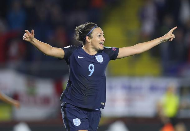 Jodie Taylor, previously of the Spirit and the Thorns, after scoring against Spain. Source | UEFA