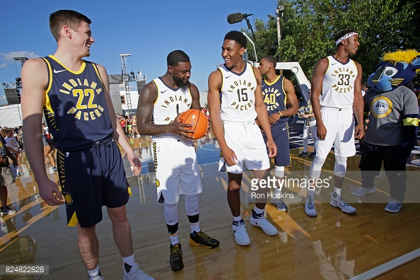 Members of the Pacers model their new Nike kit | Source: Getty Images