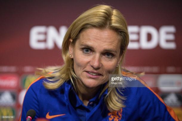 Sarina Wiegman, the Netherlands coach. | Photo: Getty/Maja Hitij.