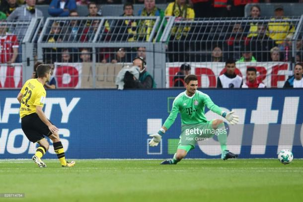Pulisic opens the scoring for Dortmund.  | Photo: Getty/Alex Grimm/Bongarts.