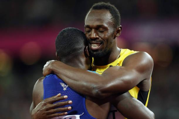 Bolt and Gatlin embrace after the final (Getty/Patrick Smith)