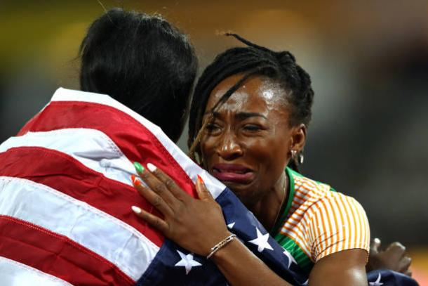 Bowie and Ta-Lou embrace after the race (Getty/Michael Steele)