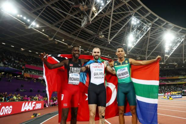 The three medalists celebrate after the final (Getty/Michael Steele)