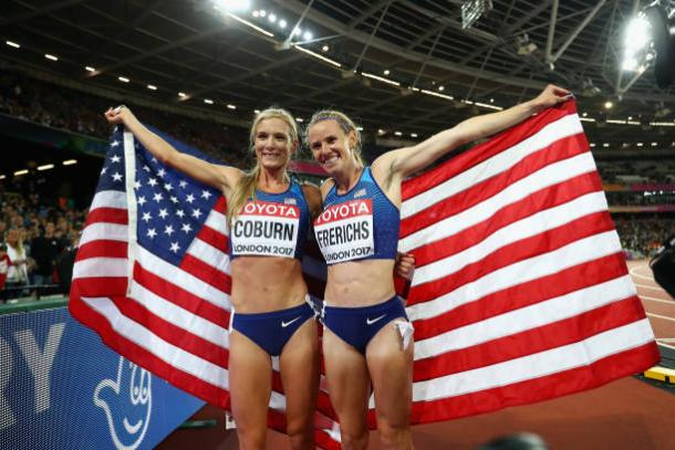 Coburn and Frerichs celebrate their performances after the race (Getty/Michael Steele)