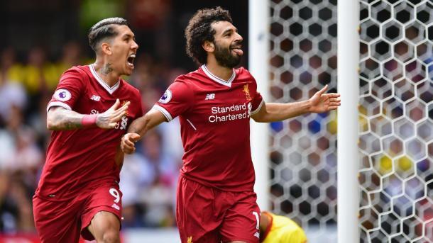 La gioia di Salah al primo goal ufficiale con i reds   Foto: premierleague.com
