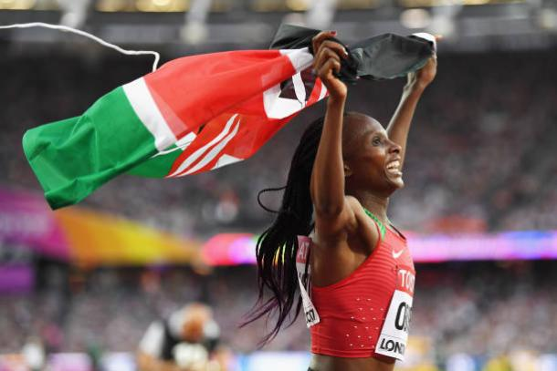 Obiri celebrates her triumph (Getty/Shaun Botterill)