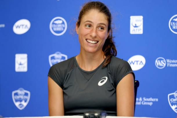 Konta during a Western and Southern Open press conference (Getty/Matthew Stockman)