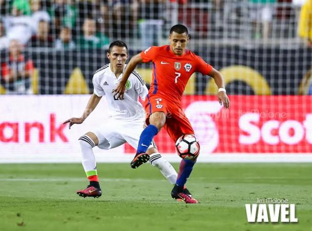 Chile's play maker Alexis Sánchez led his team to the semifinals by scoring a goal and dishing out two assists against Mexico on Saturday at Levi's Stadium. Photo provided Jim Malone-VAVEL USA.