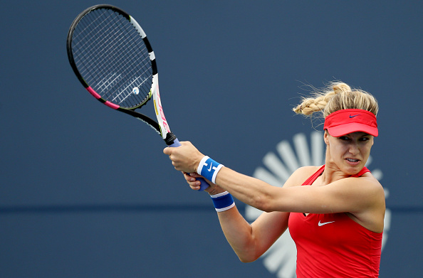 Eugenie Bouchard in action during her first round match at the Connecticut Open. Photo: (Getty Images/Maddie Meyer)