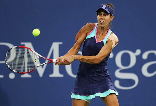Mihaela Buzarnescu during her first round match at the US Open. (Getty Images/Elsa)