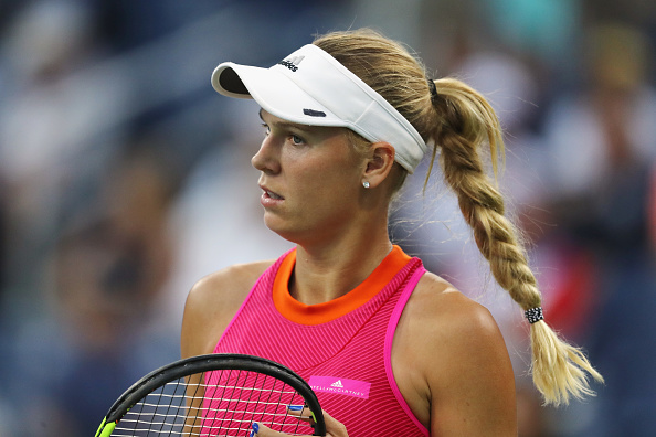 Caroline Wozniacki during her first round match at the US Open. (Getty Images/Elsa)