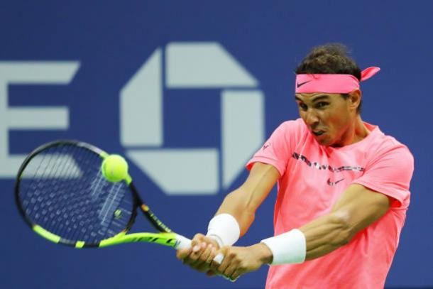 Nadal in action today (Getty/Richard Heathcote)