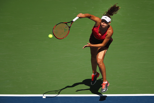 Evgeniya Rodina in action during her first round match at the US Open. (Getty Images/Clive Brunskill)
