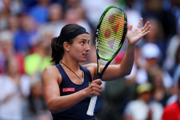 Sevastova celebrates her fourth round win (Getty/Richard Heathcote)