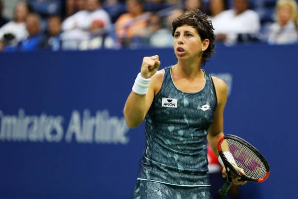 Suarez Navarro fell just short in her quest to beat Williams (Getty/Richard Heathcote)
