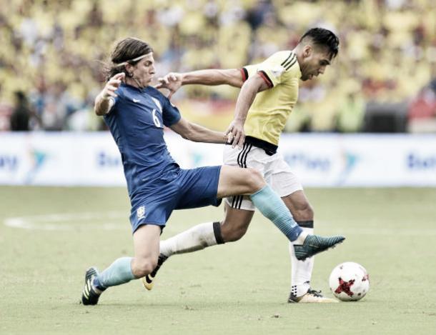 Filipe em ação pela Seleção pelas Eliminatórias da Copa | Foto: Guillermo Legaria/Getty Images