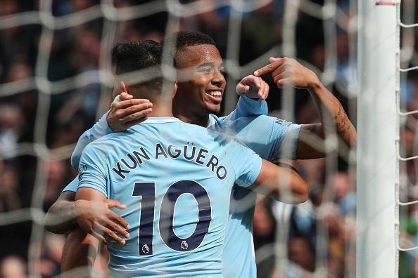 Terceiro do City: passe de Agüero e gol de Gabriel Jesus (Foto: Robbie Jay Barratt - AMA/Getty Images)