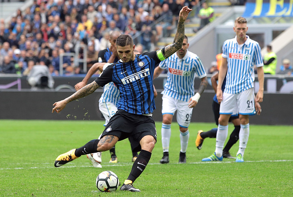 Icardi converte pênalti e tira o zero do placar no Giuseppe Meazza (Foto: Emilio Andreoli/Getty Images)