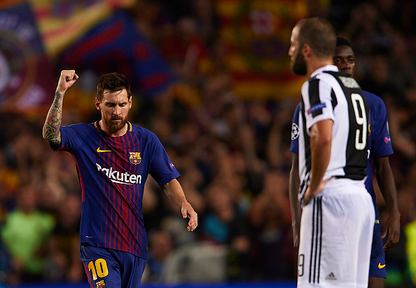 Messi comemora seu primeiro gol contra Buffon (Foto: Manuel Queimadelos Alonso/Getty Images)