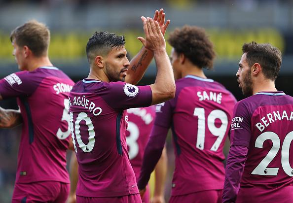 Três gols e uma assistência: dia perfeito de Agüero (Foto: Richard Heathcote/Getty Images)