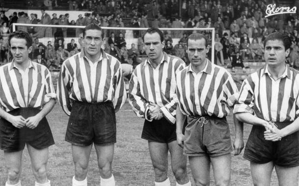 elantera del Athletic, Iriondo, Venancio, Zarra, Panizo y Gainza    Foto: Web oficial del Athletic Club