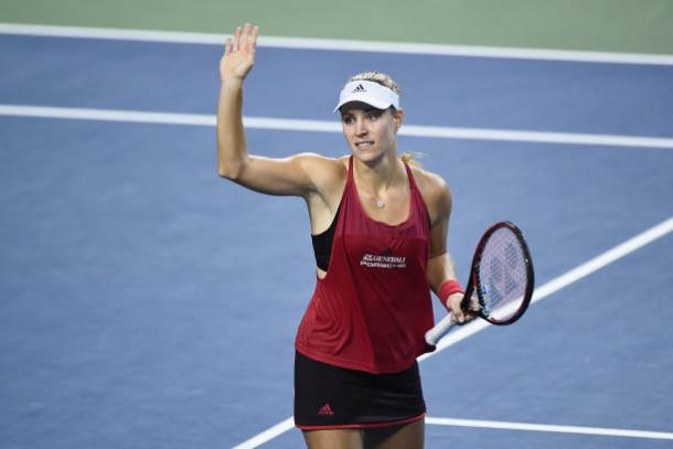 Kerber celebrates her quarterfinal victory (Getty/Matt Roberts)