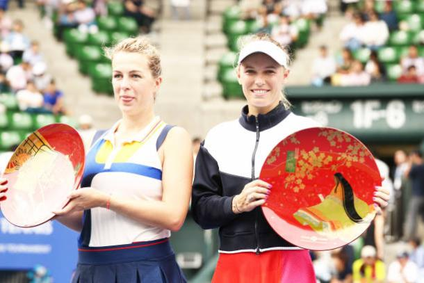 Pavlyuchenkova and Wozniacki after the final (Getty/Koji Watanabe)