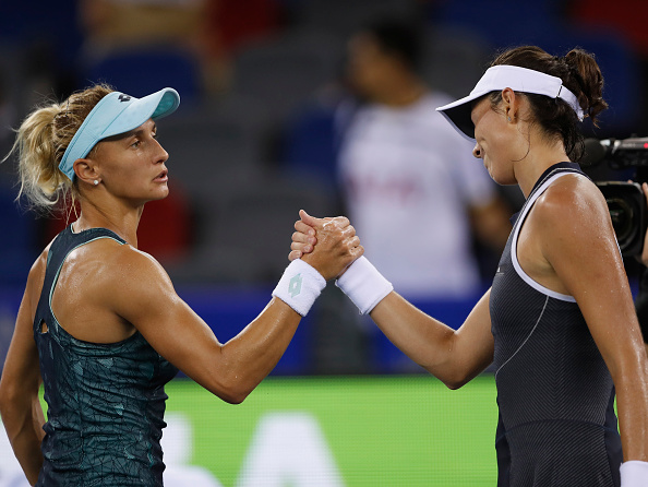 Tsurenko and Muguruza meet after their match (Getty/Kevin Lee)