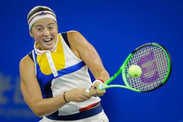 Ostapenko in action during her win over Muguruza in Wuhan (Getty/Wang He)