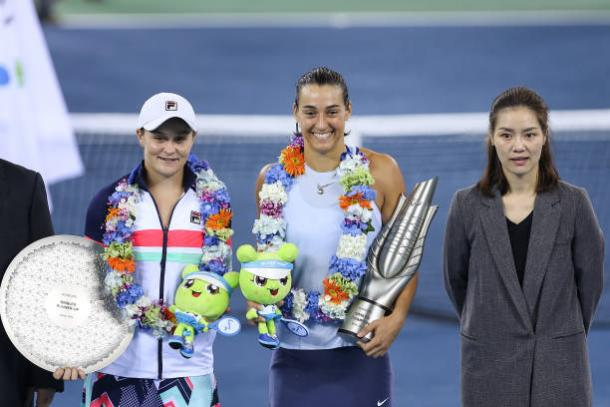 Barty and Garcia were presented with their trophies by Li Na, who was born and grew up in Wuhan (Getty/Yifan Ding)