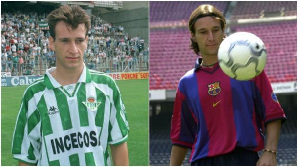 Alfonso Perez con el Real Betis (izquierda) y con el F.C. Barcelona (derecha). Fuente: La Liga