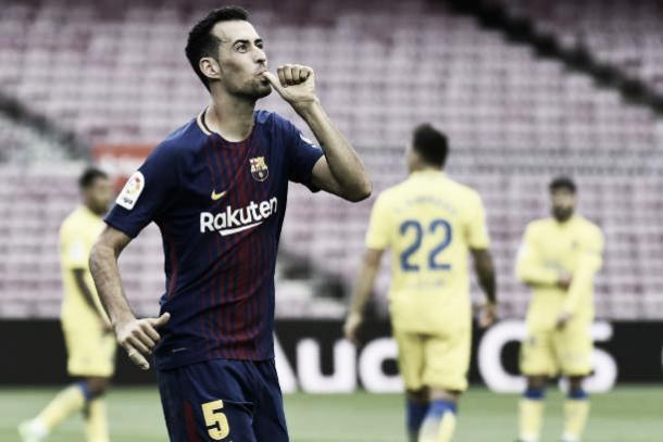 Busquets comemora seu gol, o primeiro da partida | Foto: Jose Jordan/Getty Images