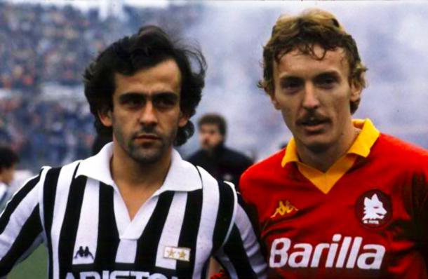 Michel Platini e Zibi Boniek al loro primo incontro da avversari