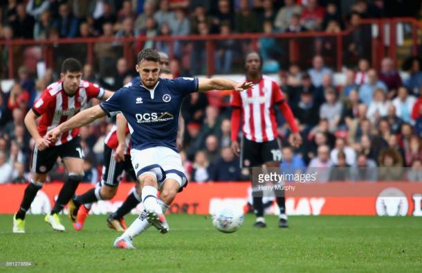 Lee Gregory missed a late penalty for Millwall away at Brentford. (picture: Getty Images / Harry Murphy)