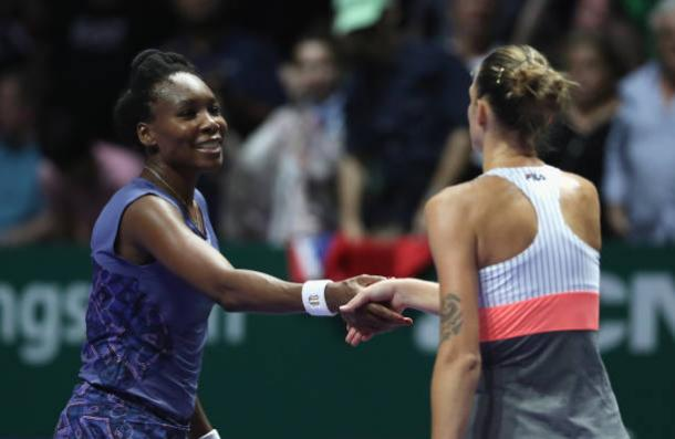 Williams congratulates Pliskova following the conclusion of the match (Getty/Matthew Stockman)
