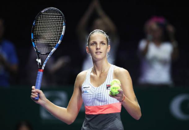 Pliskova celebrates following her second win in Singapore this year (Getty/Julian Finney)