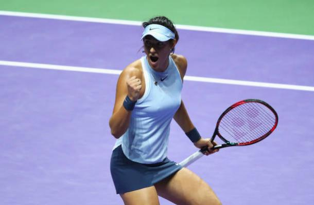 WTA Finals: Garcia advances to semis after Halep loses