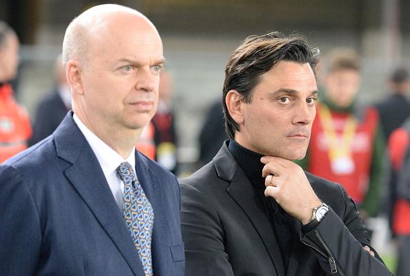 Segundo o Corriere della Sera, Fassone (à esq.) deve manter Montella no comando do Milan (Foto: Dino Panato/Getty Images)