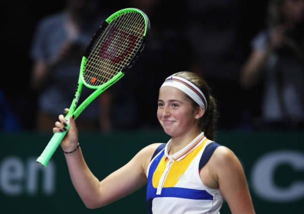 Jelena Ostapenko at the WTA Finals in Singapore (Getty/Matthew Stockman)