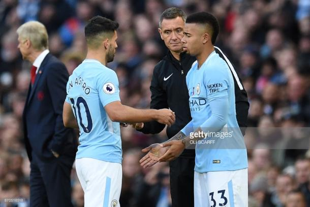 Sergio Agüero and Gabriel Jesus have been competing for a place in Guardiola's starting line-up. (picture: Getty images / Oli Scarff)