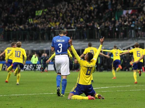 L'esultanza dei giocatori Svedesi al fischio finale: (Fonte foto: Instagram Svezia)