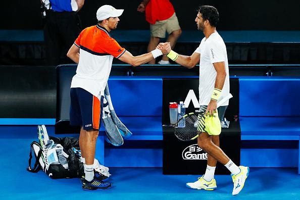 Juan Sebastian Cabal and Robert Farah celebrating reaching their maiden Grand Slam final (Photo: Michael Dodge/Getty Images)