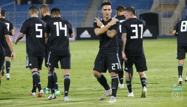 Lautaro marcó su primer tanto con la Selección Mayor | Foto: Prensa AFA.