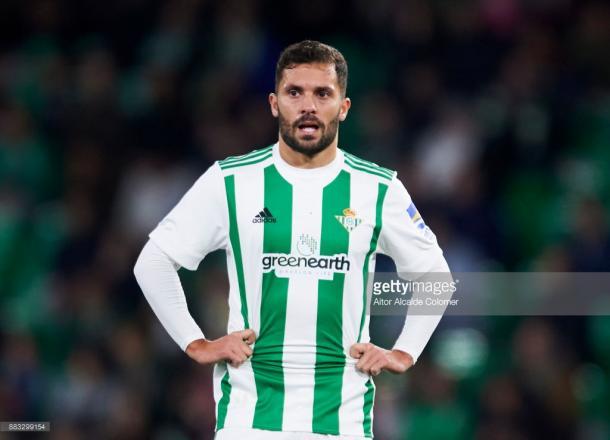 El lateral danés durante un partido en el Benito Villamarín