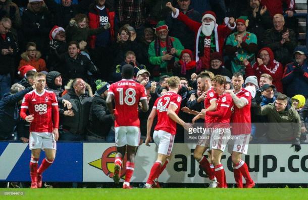 Ben Brereton celebrates scoring for Forest against Preston in December. (picture: Getty Images / Alex Dodd - CameraSport)