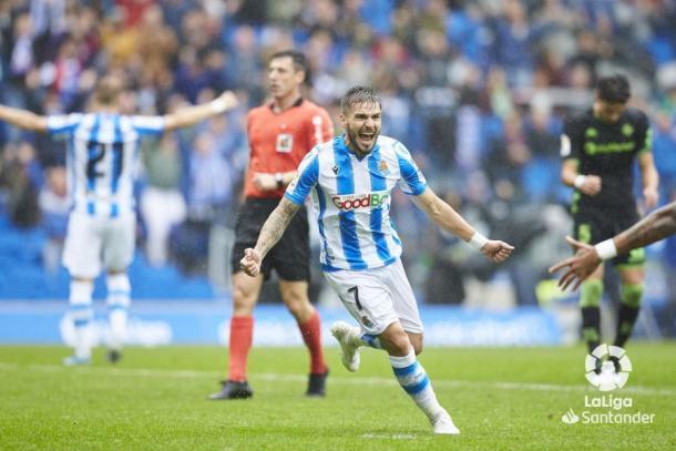 Portu celebrando su gol frente al Betis en el partido de ida. Fuente:LaLiga Santander
