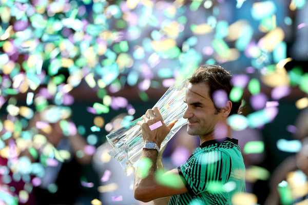 Roger Federer will look to defend his Indian Wells title over the next fortnight. He beat Stan Wawrinka in the final last year, pictured. Photo: Matthew Stockman/Getty Images